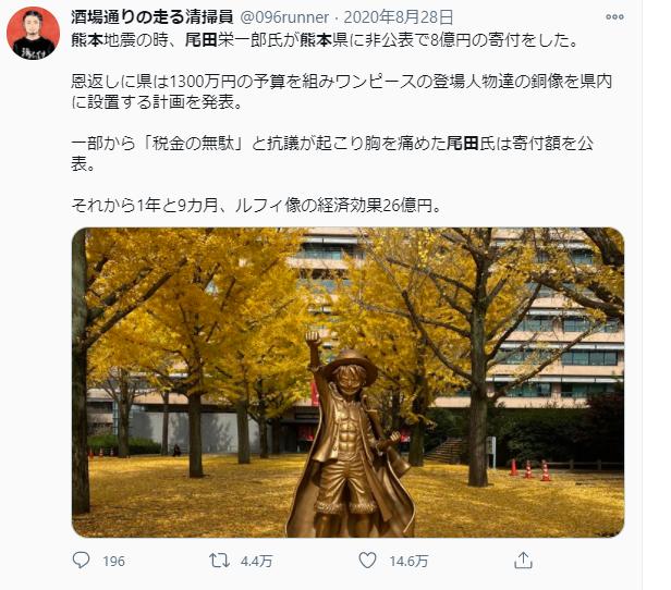 尾田栄一郎が熊本県に8億円寄付