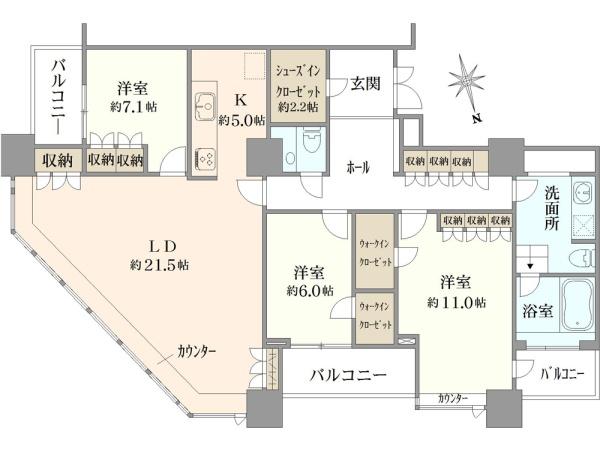 二宮和也の自宅間取り(白金タワー)